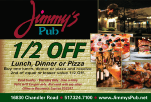 Jimmy's Pub, 1/2 Off Lunch Dinner or Pizza